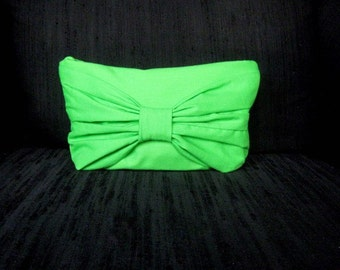 Beautiful Handmade cotton lime green clutch with bow color options avalible