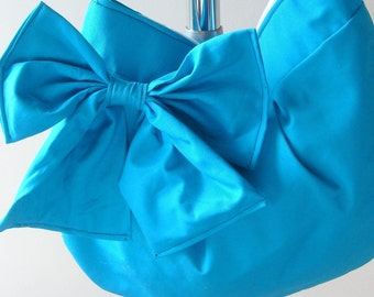 Hobo or messenger bag in Turquiose Blue - bow purse With zipper and adjustable strap color variations