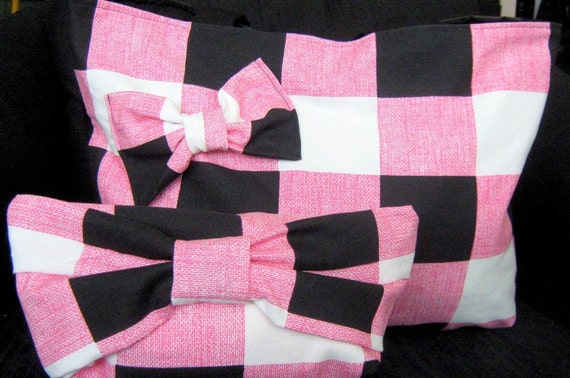 SALE Handmade market tote and pink white and black clutch set