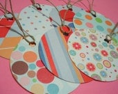 Handmade Assorted Retro Round Gift Tags\/hang tags-Set of 7