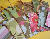Amy Butler Hang Tags(Mixed Theme) Scalloped Square Tags-Set of 13