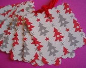 Dotty Christmas Tree Scalloped Square Gift\/Hang Tags-Set of 8