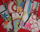 Assorted Retro with Flower Square Scalloped Tags- Set of 8