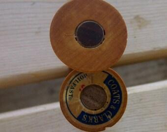 Walnut Knitting Needles Size 13 with Vintage Thread Spool