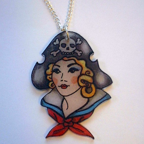 Ixykix tattoo flash pirate pin up girl nautical necklace for Pin up tattoo flash