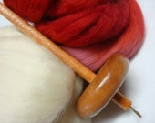 Drop spindle Kit With Variegated Red Spinning Fiber