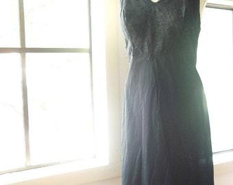 Vintage Slip Dress - Full Lace Bodice - Size 36