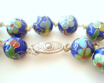 Antique 1950's Chinese Cloisonné Necklace Hand-knotted on Silk