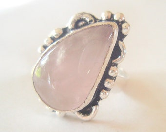 Vintage Rose Quartz and Sterling Silver Ring