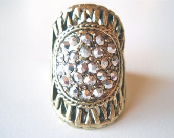 Vintage Pave Crystal Dinner Ring