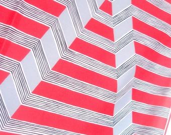 "Reflected ""V"" - a vintage 1980's Vera Neumann hand-painted ""Verasa"" Optical Art Scarf"