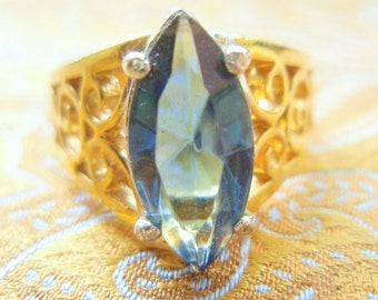 Blue Shakespearian Vintage Engagement Ring