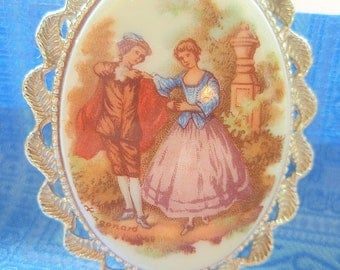 French Country Antique 1950's Fragonard Brooch