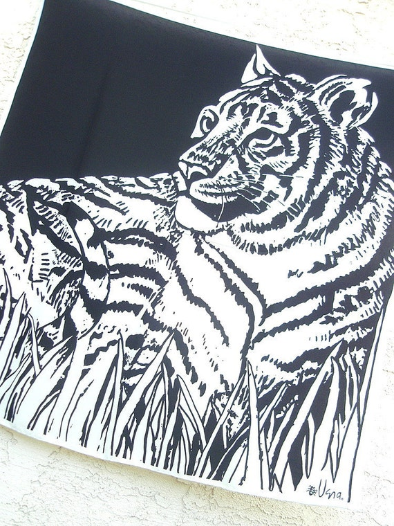 Monochrome Tiger - a rare, vintage Vera Neumann Hand-Painted, Lucky Ladybug, pure silk scarf - 36 inches - MINT