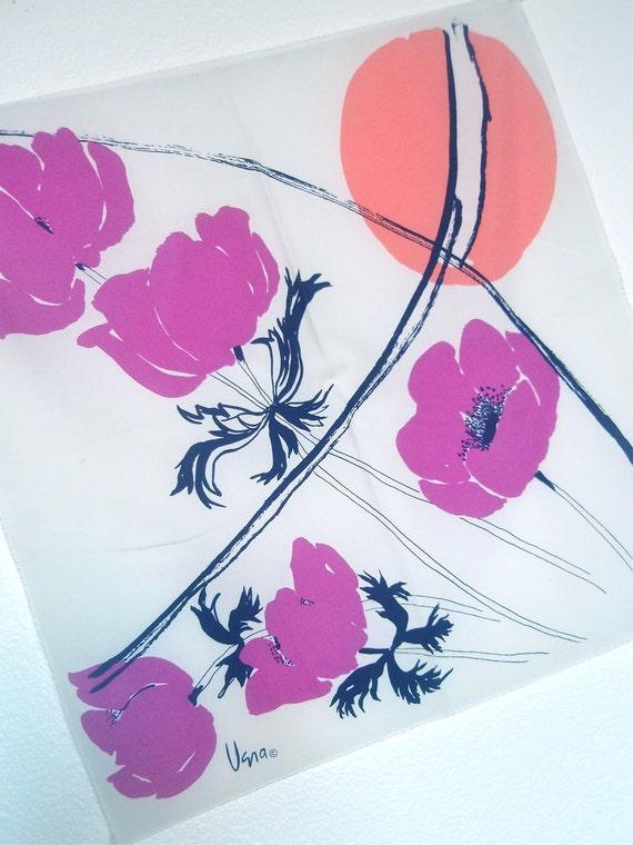 Tokyo Moon - a vintage 1980's Vera Neumann Hand-Painted Scarf