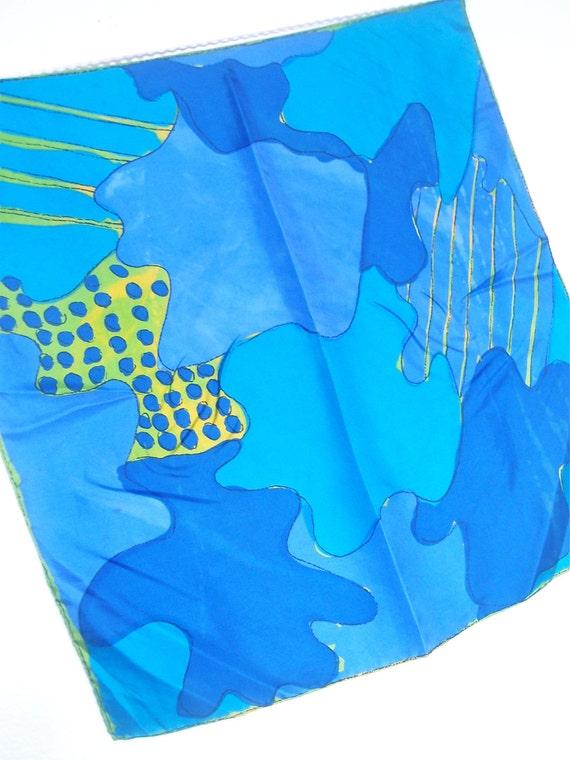 Mod Jigsaw Puzzle - a vintage 1960's hand-painted Vera Neumann Lucky Ladybug Pure Silk Scarf