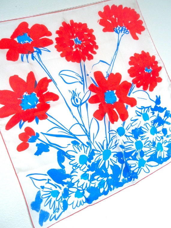 Joy Filled Daisy - a vintage 1970's hand-painted Vera Neumann Pure Silk scarf - Made in USA