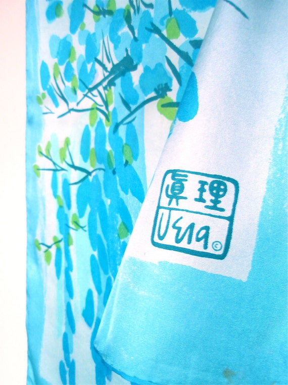 Cherry Blossoms - a rare, historical vintage 1974 Vera Neumann Sumi-e Brushed Silk Scarf - Made in the People's Repulic of China - MINT