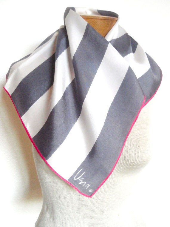 Take 50% OFF all Vera - Silver Mod Stripe - a vintage 1960's Vera Neumann hand-painted scarf