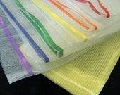 Reusable Produce Bags - Variety set of 6 mesh bags with rainbow drawstrings, plus storage bag (sheer yellow)