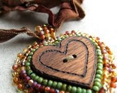Wooden Heart Pendant Brown Green Button ENCHANTED FOREST Ribbon Bead Embroidered