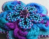 Crochet Flower Brooch Felt Brooch Beaded Brooch PEACOCK Jade Green Purple Turquoise Blue Multimedia Pin