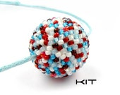 Beaded Ball Necklace KIT, Red White and Blue, Beaded Bead Tutorial, Beadweaving Instructions, Seed Beads: CONFETTI