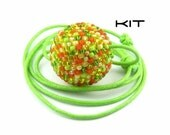 Necklace KIT, Beaded Bead Tutorial, Citrus Orange Lemon and Lime, Beaded Ball, Beadweaving Instructions, Seed Beads: SQUEEZE