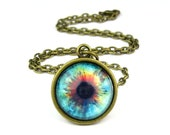 Glass Eye Pendant, Blue Red Gold, Alien Jewelry: Supernova