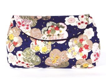 blue japanese floral clutch purse