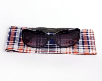 orange navy white tartan sunglass / glasses case