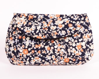 blue & orange blossom clutch purse