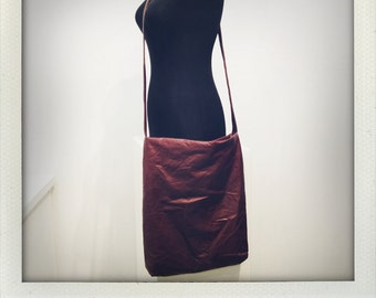 Brown Pleather (faux leather) Across Body Tote with vintage floral interior