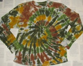 XL Mens Upcycled Thermal Tie Dye Shirt in Earth Tones