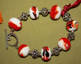 Lampwork Glass Bead bracelet with Sterling Silver beads