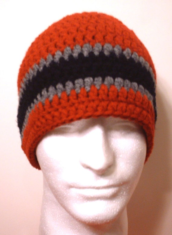 Crochet Beanie Hat Skullcap: Red, Grey and Black - Men Unisex Women