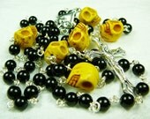 ON SALE  - Muertos Skull Rosary with Mustard Stone Skulls and Obsidian - Save 5 -