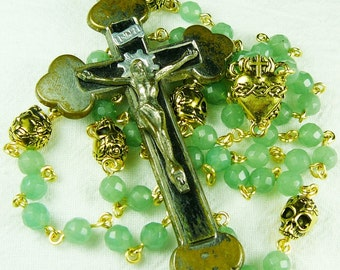 Muertos Antique Crucifix Skull Rosary with Aventurine in Gold