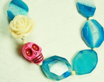 Pink Stone Skull, Cream White Rose, Quartz in Blue and White Stone Necklace
