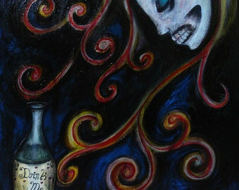 Eat Me Drink Me - Original Painting from Alice In Wonderland Series