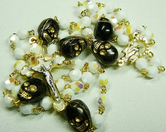 Rosary with White Glass, Gold and Black Skulls in Gold