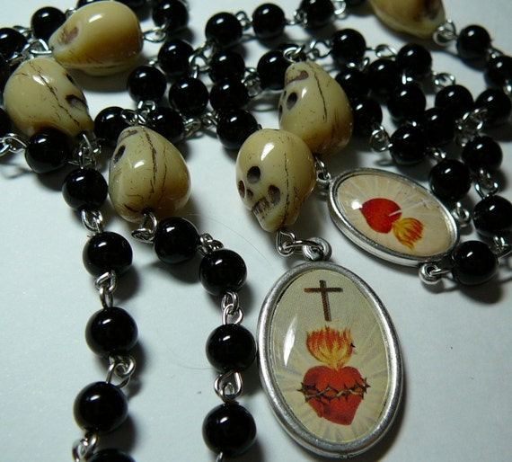 Muertos Skull Rosary with Flaming Heart, Skulls And Black Glass