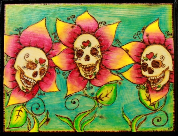 Sugar Skull Flowers Plaque