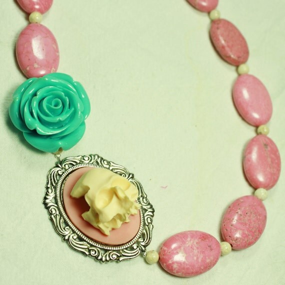 Pink 3D Skull Cameo with Big Aqua Rose, Pink Stone and White Stone Necklace