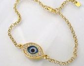 Evil Eye Bracelet In Gold As Seen On Kim Kardashian And Kelly Ripa