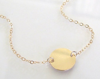 Single Disc Circle Necklace, Can Be Engraved, Femme - Ultra Feminine, 14K Gold Filled or Sterling Silver