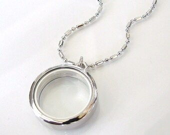 3-D Glass Locket Necklace - Rhodium Coated Silver Locket For Small Treasures - You asked For It - I Got It For You