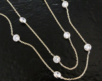 Cubic Zirconia Station Necklace, 14K Gold, Diamonds By The Yard, 18 Inch Length, Also Available in White Gold