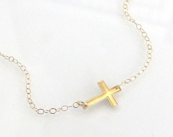 Gold Sideways Cross Necklace, Mini 14K Solid Yellow or White Gold, As Seen On Jennifer Lopez
