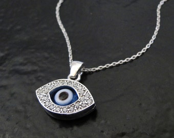 Evil Eye Necklace, Sterling Silver wWith CZ's - As Seen On Ashley Tisdale - 16 Inch